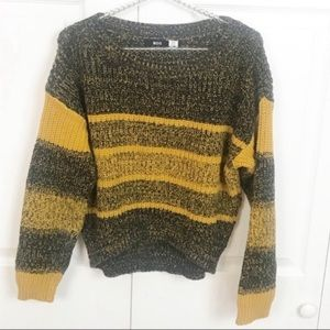 UO l BDG Mustard Striped Chunky Knit Sweater